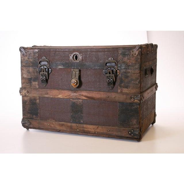 Victorian Wood & Metal Flat Top Brown Steamer Trunk - Image 2 of 11