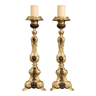 19th Century French Patinated Two-Tone Repousse Brass Candlesticks - A Pair