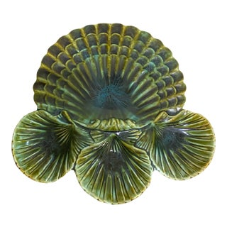 Vintage Mid-Century Modern California Pottery #717 Large Green Clam Shell Serving Dish For Sale