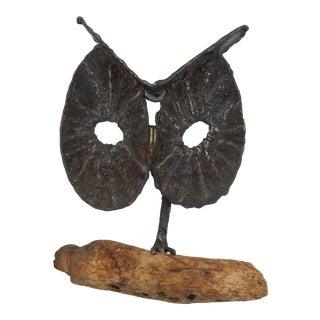 Bronze Owl on Driftwood Sculpture For Sale