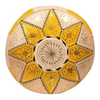 Yellow Traditional Moroccan Pouf Cover For Sale