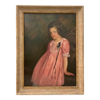 Original Oil Portrait of a Young Girl in a Pink Dress by C. Rice C.1920 For Sale