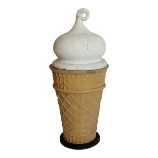 "1950s Papier Mâché Ice Cream Cone Trade ""Eat-It-All"" Sign"
