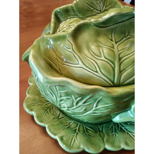 1970s Majolica Cabbage Tureen With Serving Platter For Sale In Columbus - Image 6 of 9