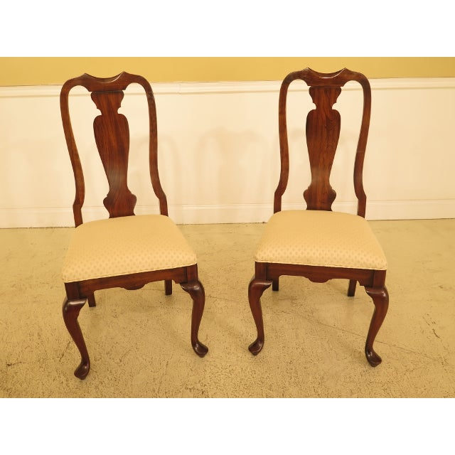Brown 1990s Vintage Harden Furniture Cherry Wood Queen Anne Style Dining Room Chairs - Set of 6 For Sale - Image 8 of 13