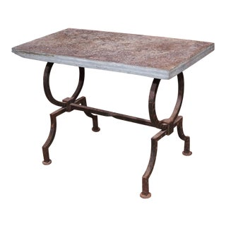 French Wrought Iron and Stone Top Coffee Table For Sale
