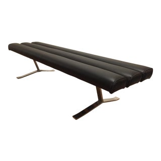 Chrome and Black Padded Bench