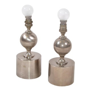 Maison Barbier French Mid-Century Modern Small One Sphere Table Lamp 1970 - Pair For Sale