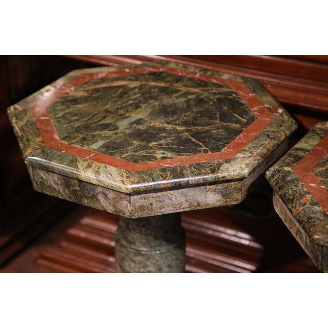 19th Century Italian Carved Octagonal Green Marble Pedestals - a Pair For Sale - Image 9 of 9