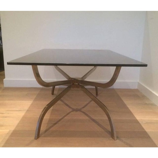 Mid Century Modern Brushed Steel And Glass Coffee Table By Maison Charles Image 2
