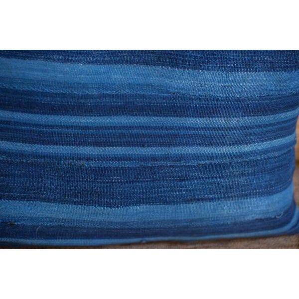 Dark Blue Striped Indigo Lumbar Pillow - Image 5 of 6