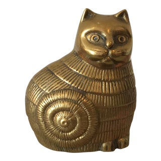 1970s Vintage Brass Cat For Sale