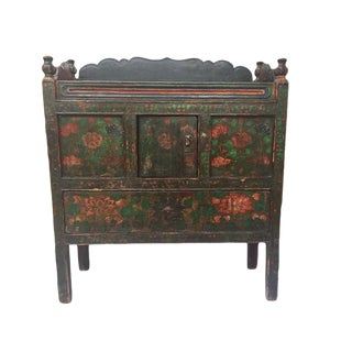 1940s Tibetan Lotus Painted Console For Sale