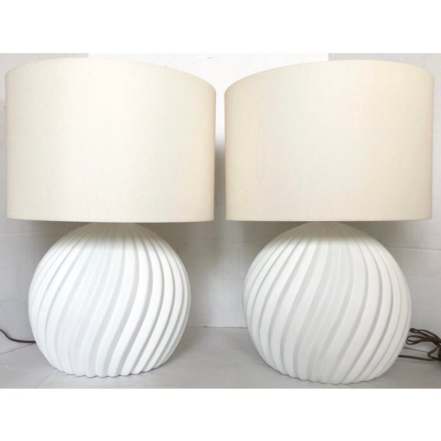 White Gesso Swirl Table Lamps - A Pair For Sale In Miami - Image 6 of 6