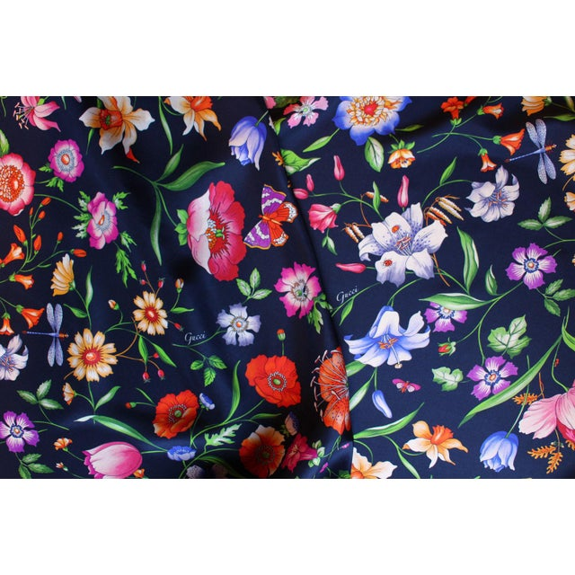 Gucci Navy Floral Silk Fabric For Sale - Image 11 of 13
