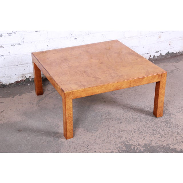 Milo Baughman Mid-Century Burl Wood Parsons Coffee Table For Sale - Image 4 of 9