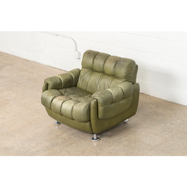 Mid-Century Modern Vintage Mid Century Green Leather Lounge Chair in the Style of Percival Lafer, 1970s, Matching Sofa Available For Sale - Image 3 of 11