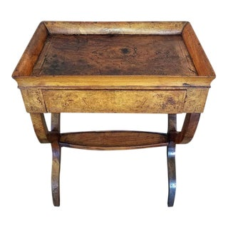18c French Provincial Burl Walnut Lyre Work Table For Sale