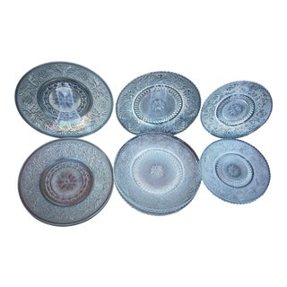 Vintage Pressed Glass Plates - Set of 14 For Sale