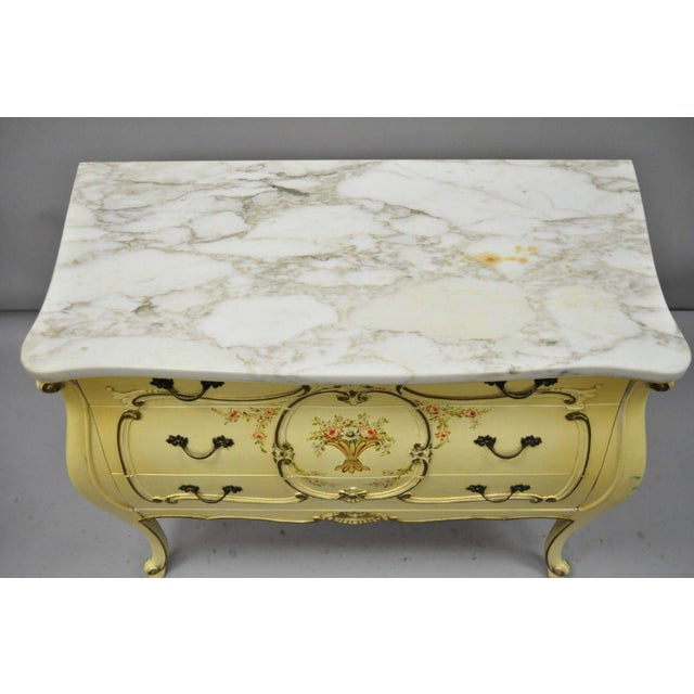 Marble Cream Floral Painted Marble Top Commode For Sale - Image 7 of 11