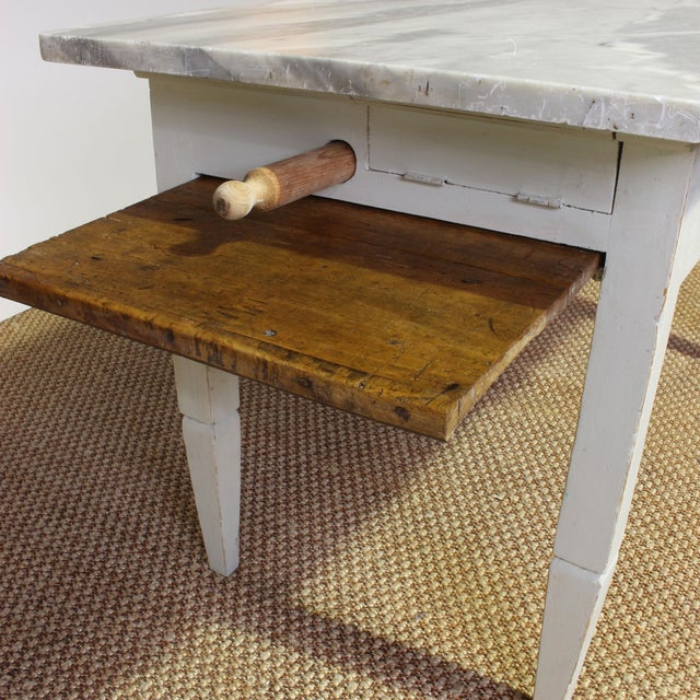 Industrial Vintage Italian Marble Top Kitchen Table For Sale - Image 3 of 10