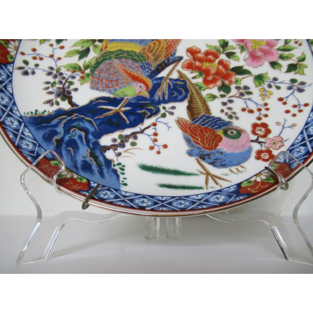 Blue Vintage Hand-Painted Porcelain Japanese Imari Decorative Wall Plate For Sale - Image 8 of 13