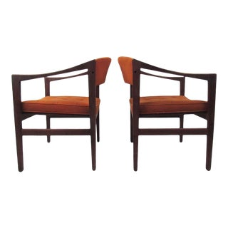 Pair of Mid-Century Modern Walnut Armchairs For Sale