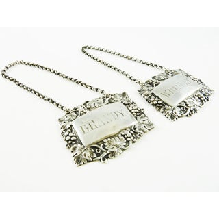 Late 19th Century Victorian Sterling Silver Wine Labels Decanter Tags for Brandy & Whiskey - a Pair Preview