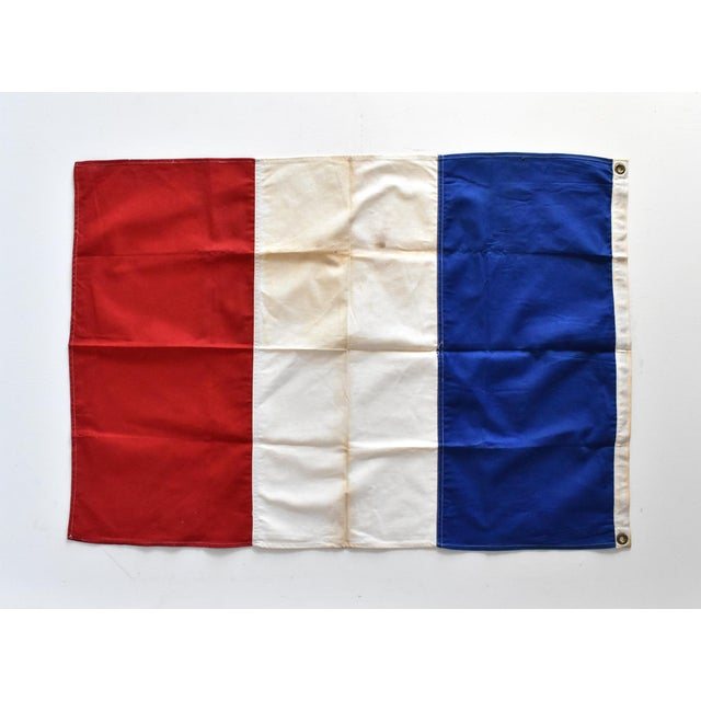 Vintage Hand-Sewn French Tricolore Flag For Sale - Image 4 of 7