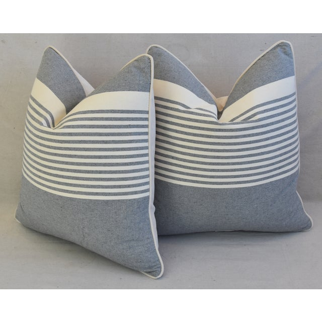 """White French Gray & White Nautical Striped Feather/Down Pillows 22"""" Square - Pair For Sale - Image 8 of 12"""