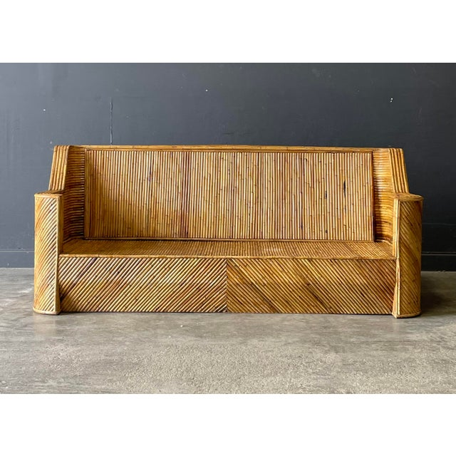 Outrageous Hollywood Regency period bamboo rattan sofa. One of the most stunning pieces we have had!
