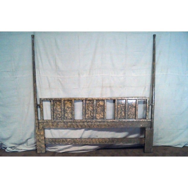 Henredon Mid Century Faux Tortoise Shell Painted King Size Poster Headboard - Image 4 of 10
