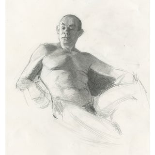 Original Male Nude Drawing: Drew Reclining