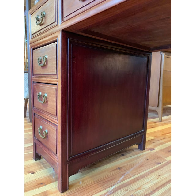 20th Century Campaign Solid Teak Partner Desk With Brass Hardware For Sale - Image 10 of 13