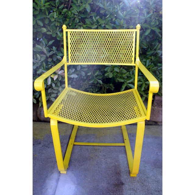 Yellow Vintage Mid Century Buttercup Yellow French Directoire Style Wrought Iron Patio Set- 5 Pieces For Sale - Image 8 of 13