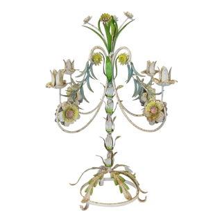 Vintage 1960s Italian Floral & Leaf Tole Candelabra For Sale