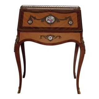 Antique French Louis XV Petite Lady's Inlaid Ormolu Desk For Sale