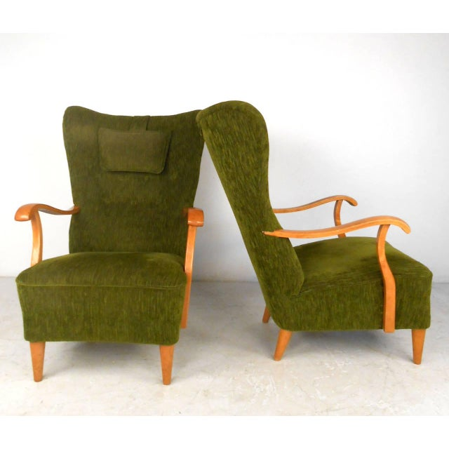 Mid-Century Modern High Back Lounge Chairs - A Pair For Sale - Image 4 of 11
