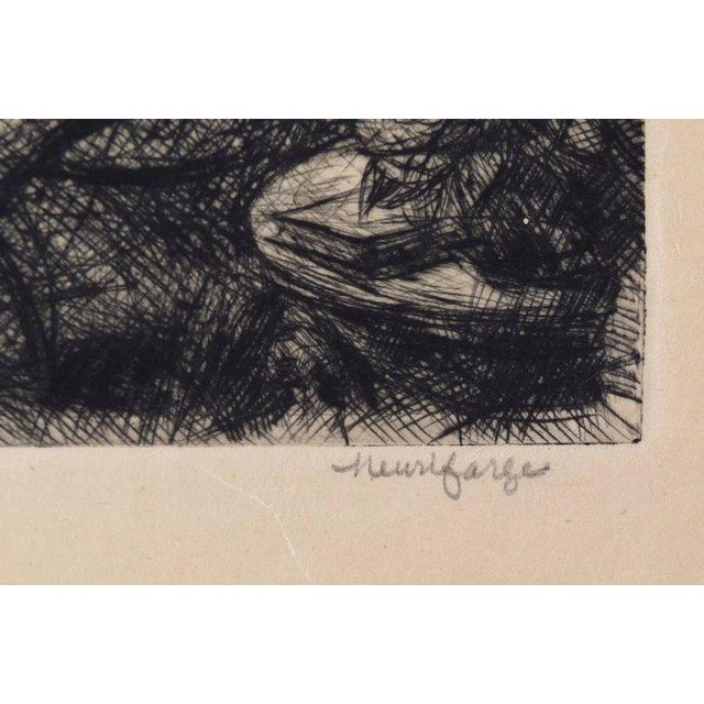 Early 20th Century Reclining Nude with Dog at Foot of Bed Etching Signed Henri Farge For Sale - Image 4 of 5