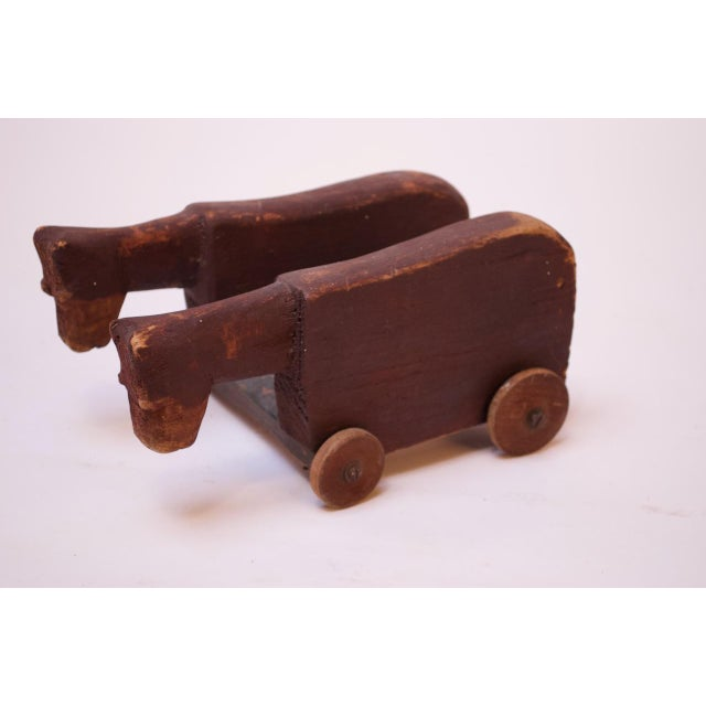 Vintage Hand-Carved Wooden Cattle Cart For Sale - Image 13 of 13