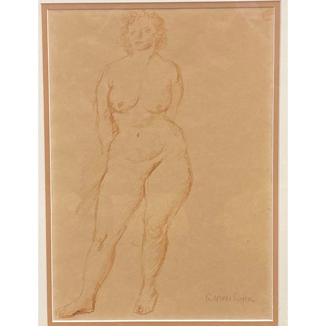 """""""Standing Nude"""" Hand Wash Drawing by Raphael Soyer For Sale - Image 10 of 13"""