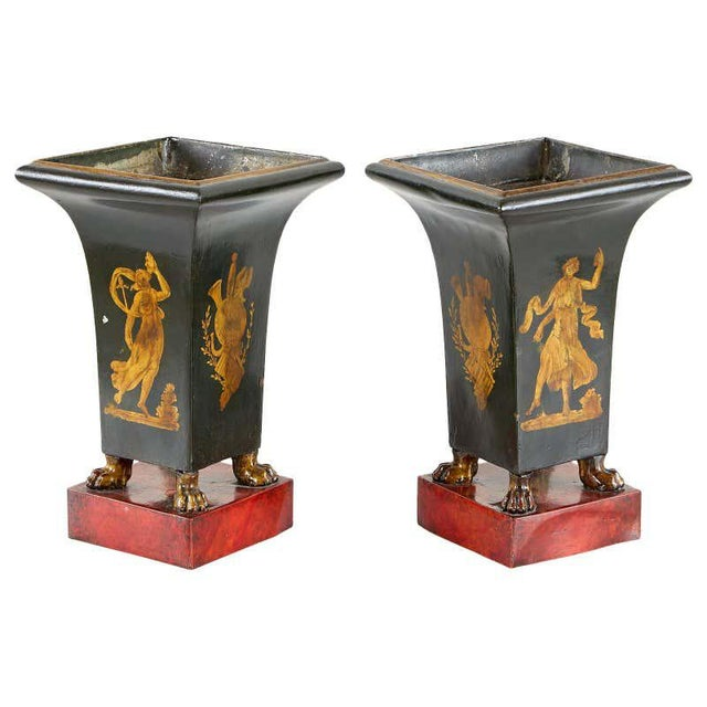 French Neoclassical Directoire Style Tole Vases - a Pair For Sale - Image 13 of 13