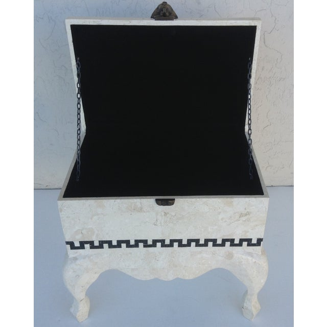 Black Marble Maitland Smith Tessellated Footed Standing Chest For Sale - Image 7 of 11