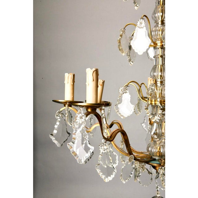 French Eight Light Brass, Glass & Crystal Chandelier, C.1920 - Image 5 of 9