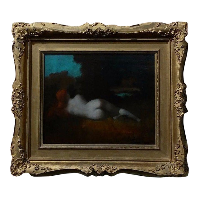 19th Century Jean-Jacques HennerStyle Study of a Nude Nymph Oil Painting For Sale