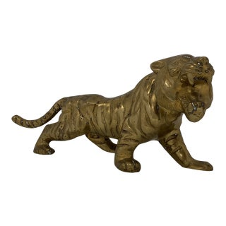 1980s Vintage Brass Prowling Tiger For Sale