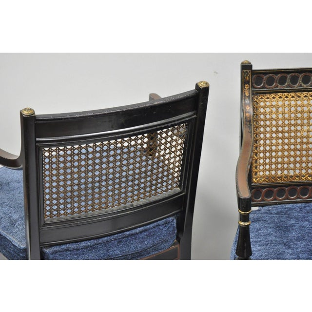 Early 21st Century Antique English Regency Style Black Lacquer Cane Armchairs- A Pair For Sale - Image 9 of 12