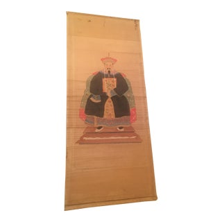 Chinese Hand Painted Figure on Paper Scroll For Sale