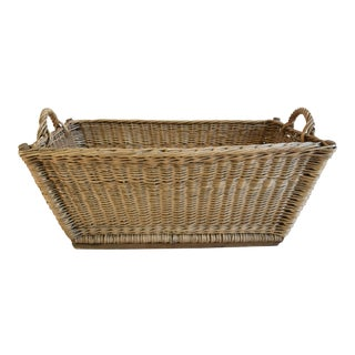 Early 1900s French Hand Woven Wicker & Willow Market Basket For Sale
