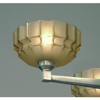 A French Four-Light Art Deco Chandelier of Spare Design, Solid Brass, Brushed Nickel Finish Preview